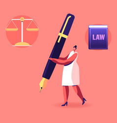 Woman notary or lawyer character carry huge quill vector
