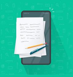 writing article or letter on mobile cell phone vector image