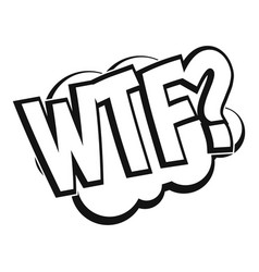 Wtf comic book bubble text icon simple style vector