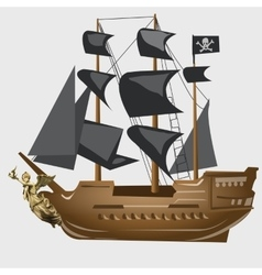 Ancient pirate ship with black sails and flag vector image vector image