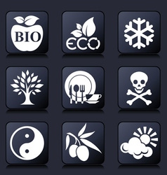 healthy living icons vector image vector image
