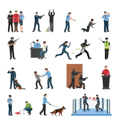 Police Team Training Flat Icons Set vector image vector image