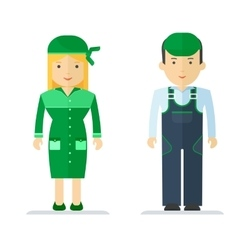 profession servise man and woman vector image vector image