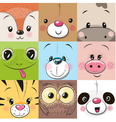 set of cute animals faces vector image vector image