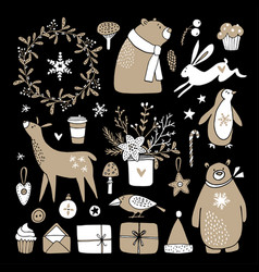 set of cute doodle sketches christmas clip-arts vector image