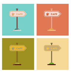 assembly flat icons cafe sign vector image vector image