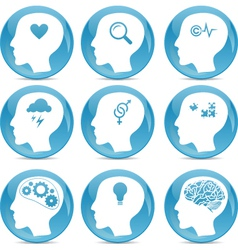 Head silhouette icons vector image vector image