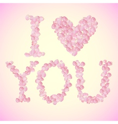 I love you sign made of rose petals vector