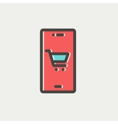 Map and location of shopping cart thin line icon vector image