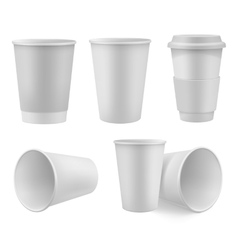 Realistic coffee cup mock up set vector image