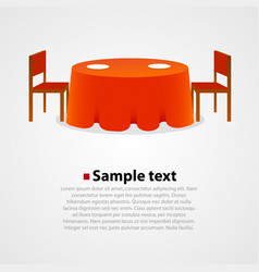 round table with tablecloth and two chairs vector image vector image