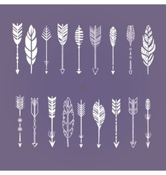 Set of Arrows White in Hand-Drawn Design vector image vector image