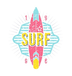 Surfing emblem in retro style vector image vector image