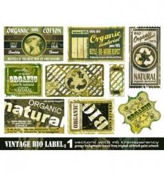 vintage bio labels collection set vector image