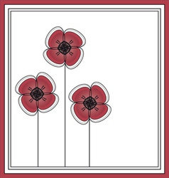 red flowers card design vector image