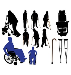 crutches canes wheelchairs vs vector image vector image