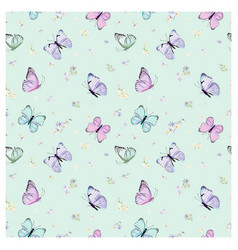 floral seamless pattern with butterflies vector image