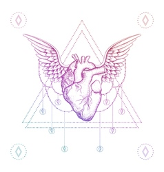 Heart with wings boho color dotwork tattoo vector image