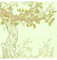 Spring vintage garden background with tree branch vector image vector image