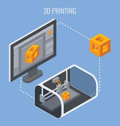 3d printing process concept vector