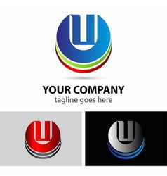 Abstract icons letter u logo vector