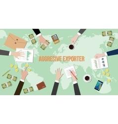 Aggressive exporter concept discussion vector
