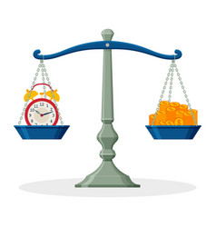 alarm clock and money on balanced scale business vector image