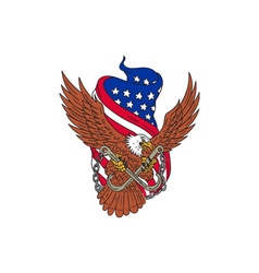 American eagle wings usa flag drawing vector