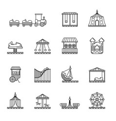 amusement circus and carousel linear icon vector image