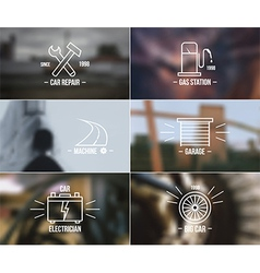 Auto service badges on a blurred backgrounds vector image