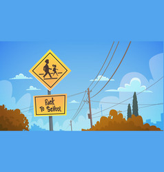 Back to school study road sign over blue sky vector