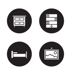Bedroom furniture black icons set vector image
