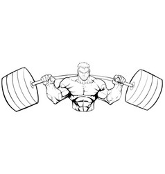 Bodybuilder gym mascot line art vector