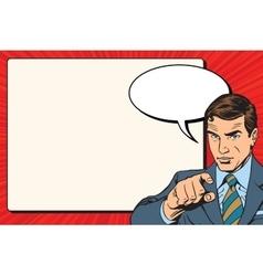 Businessman index retro poster vector image