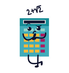 calculator flat icon sad numerator with math vector image