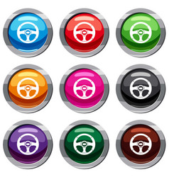 Car steering wheel set 9 collection vector