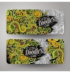 Cartoon cute doodles curls swirls banners vector