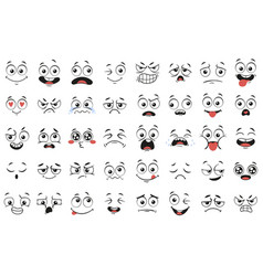 cartoon faces expressive eyes and mouth smiling vector image