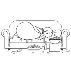 Cartoon of fat or overweight man lying on couch vector