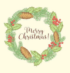 Christmas hand drawn greeting card with wreath vector