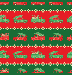 christmas trucks and cars red and green pattern vector image
