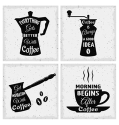 Coffee Quotes Icon Set vector image