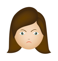 colorful cartoon human female furious face vector image