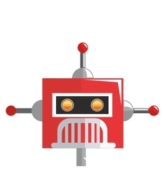 Colorful red robot with three antennas icon vector