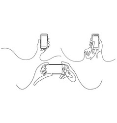 continuous line set hand holding smartphone vector image