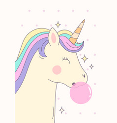 cute magical unicorn with pink bubble gum vector image
