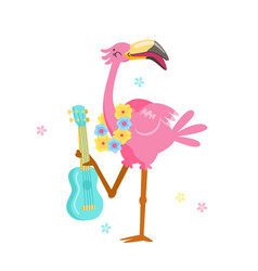 cute pink flamingo in flower wreath play ukulele vector image