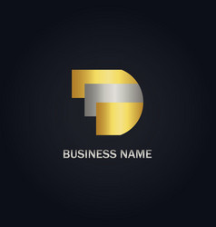 d initial gold logo vector image