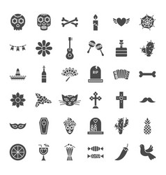 day of the dead solid web icons vector image