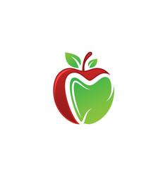 Dental apple logo sign symbol design green apple vector